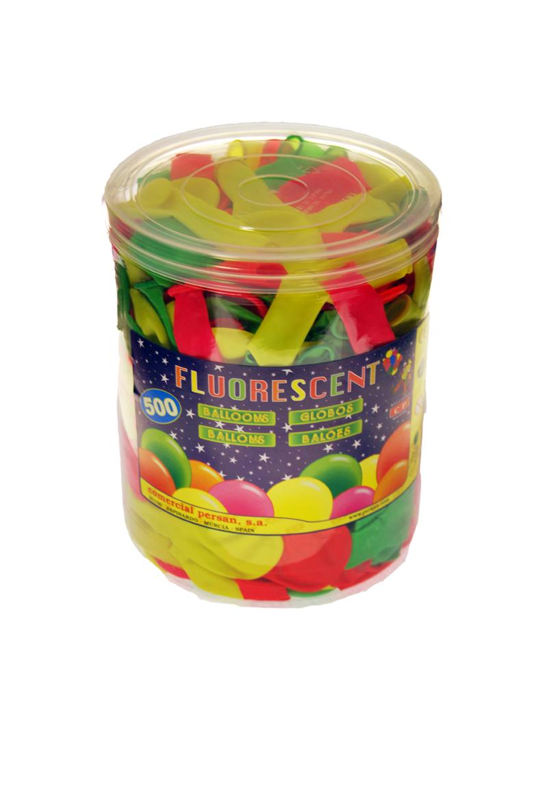 Bote rectangular 500 globos fluorescentes surtidos  ref. 10121