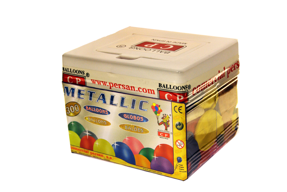 Bote rectangular 300 globos metalizados surtidos  ref. 10124