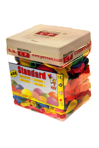 Rectangular container 400 assorted colours balloons ref. 10127