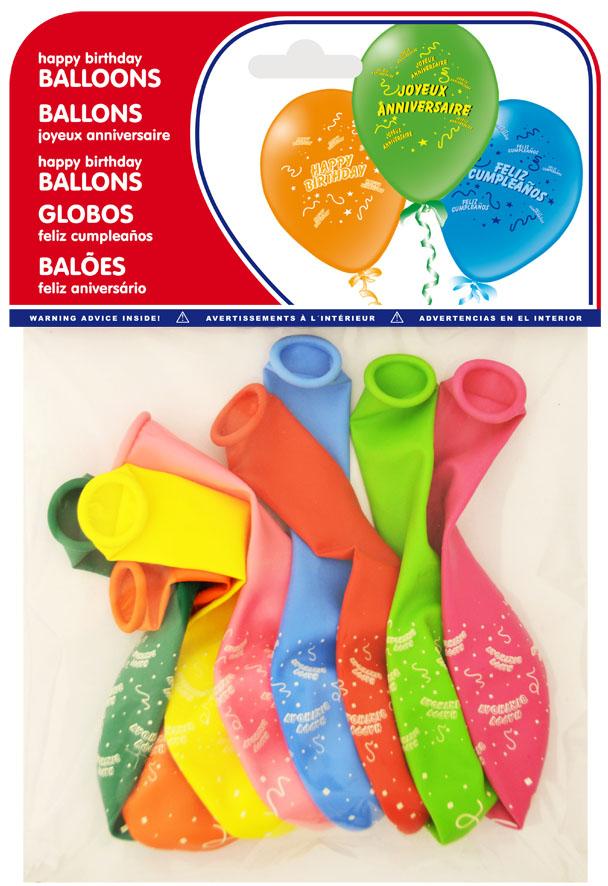 Pack Of 8 Printed Balloons Feliz Cumpleanos Ref 20032