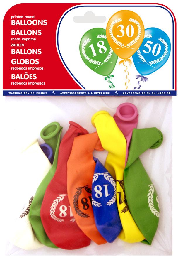 """Bolsa 8 globos impresos """"18"""" ref. 20046"""