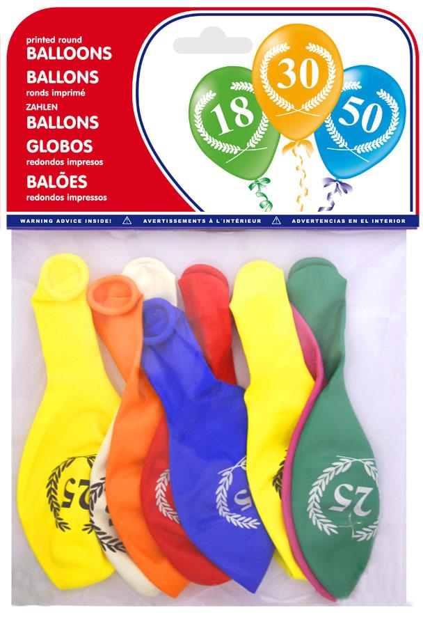 """Bolsa 8 globos impresos """"25"""" ref. 20048"""