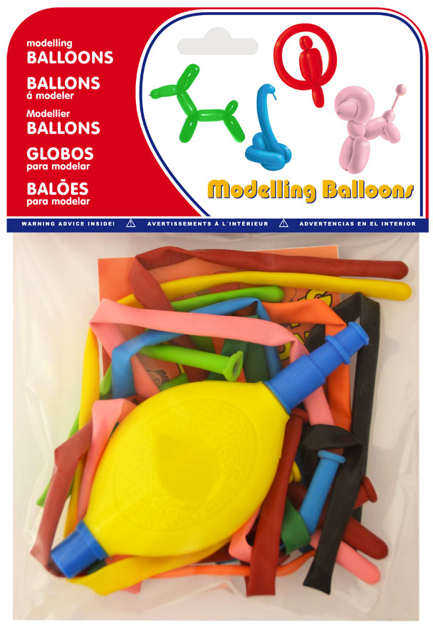 Bolsa 10 globos de modelar + inflador colores surtidos  ref. 20069
