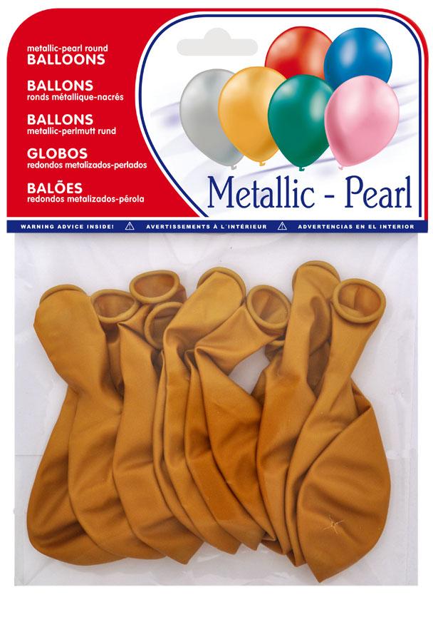 Pack of 10  gold metallic balloons ref. ref. 20425