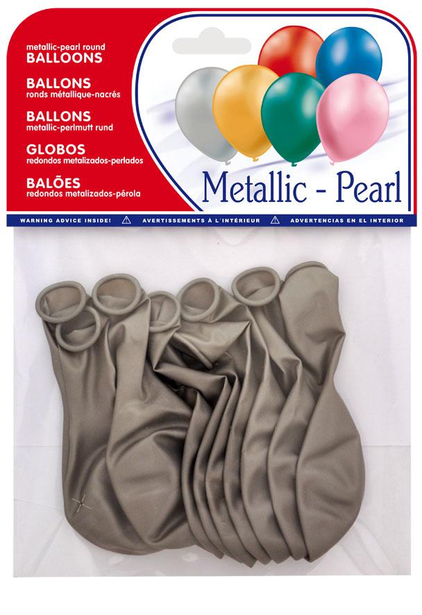 Bolsa 10 globos plata metalizados ref. 20426