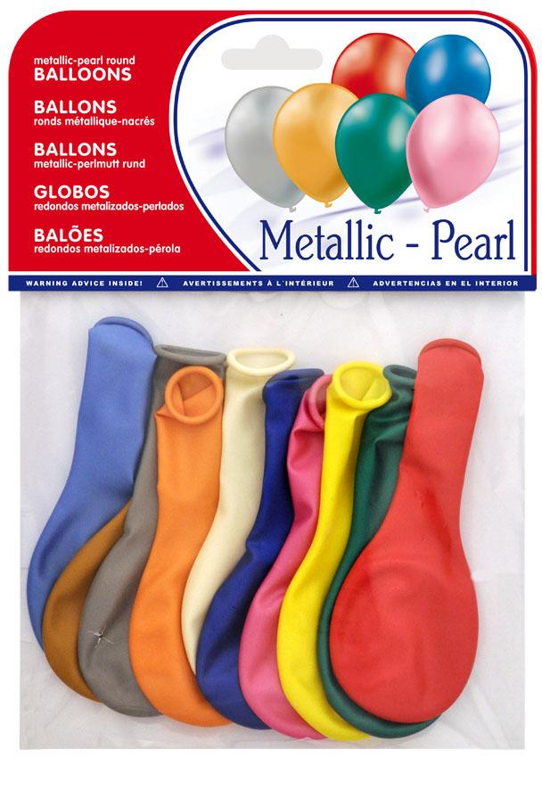Bolsa 10 globos metalizados colores surtidos  ref. 20451