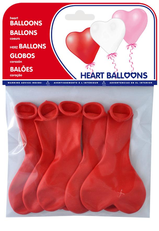 Bolsa 5 globos corazon colores surtidos ref. 20465